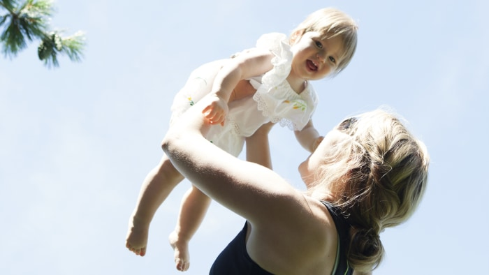 Up, up and away! Jenna Bush Hager gives Mila a lift. Watching your little baby become a little person is the most awesome part of your child's second year.