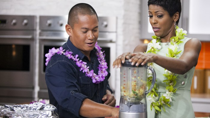 Jon Matsubara, Isaac Bancaco, Tamron Hall and Natalie Morales make pork tacos on the TODAY show in New York, on July 23, 2014.