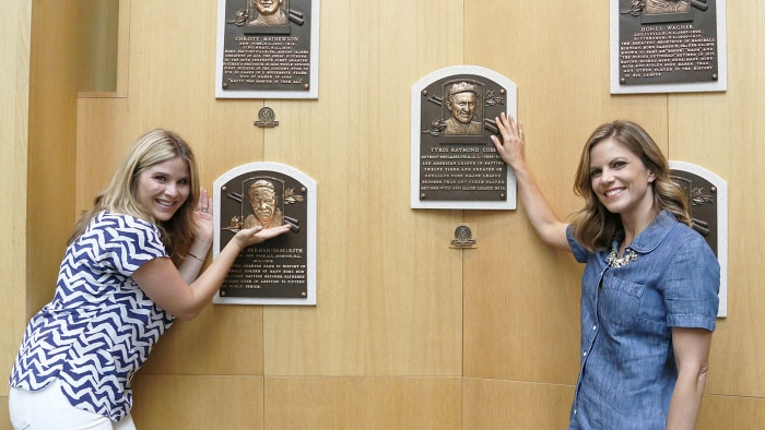 TODAY's Jenna Bush Hager and Natalie Morales pose with plaques of two of the most famous baseball players, Babe Ruth and Ty Cobb at the Baseball Hall ...
