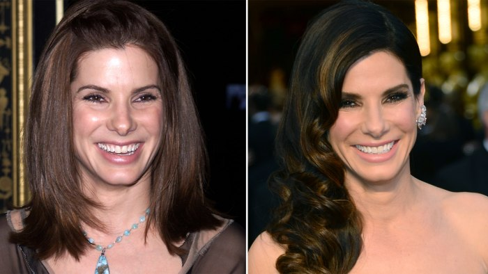 Images: Sandra Bullock in 2001 and 2014