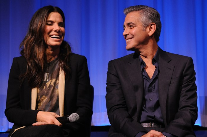 """Image: Sandra Bullock and George Clooney at an official screening of """"Gravity"""""""
