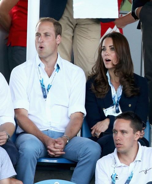 GLASGOW, SCOTLAND - JULY 28: Catherine, Duchess of Cambridge and Prince William, Duke of Cambridge watch Scotland Play Wales at Hockey at the Glasgow ...