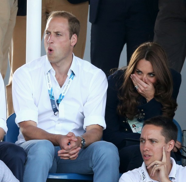 Prince William and Duchess kate watch Scotland play Wales in field hockey at the Commonwealth Games.