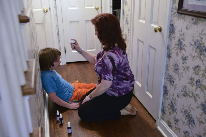 "Shira Adler uses aromatherapy to calm son Yonah in an episode of the new Bravo reality series, ""Extreme Guide to Parenting."""