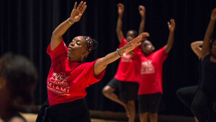 Cheryl Rowley-Gaskins leads a group of teens in a dance class at Alvin Ailey's summer camp.