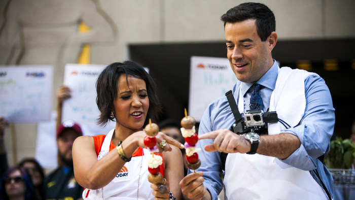Bren Herrera and Carson Daly cook on the TODAY show in New York, on July 30, 2014.