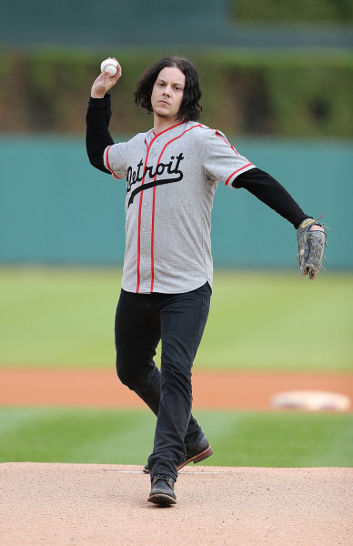 Image: Jack White throws a pitch