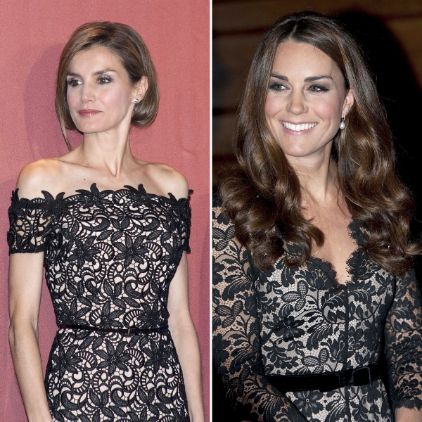 Image: Princess Letizia of Spain and Catherine Duchess of Cambridge wear similar black lace dresses