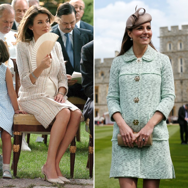 Image: Princess Letizia of Spain and Catherine Duchess of Cambridge side-by-side during pregnancy