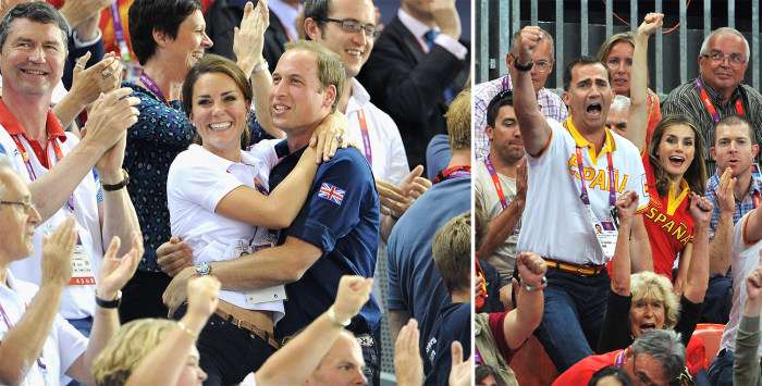 Image: Duchess Kate and Prince William embrace at a sporting match; Prince Felipe and Princess Letizia cheer on their team
