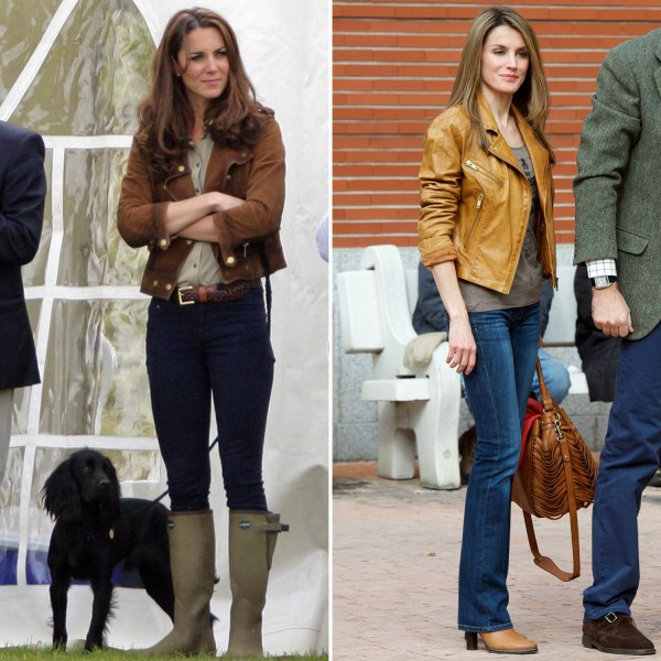Image: Kate Middleton in a brown leather jacket and rainboots; Princess Letizia in a brown leather jacket