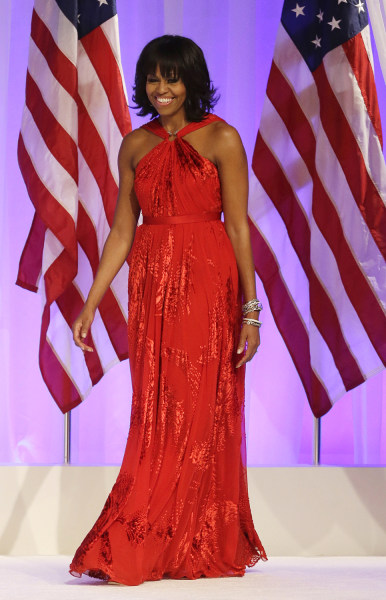 First lady Michelle Obama arrives Commander-in-Chief's Inaugural Ball at the 57th Presidential Inauguration in Washington, Monday, Jan. 21, 2013. (AP ...