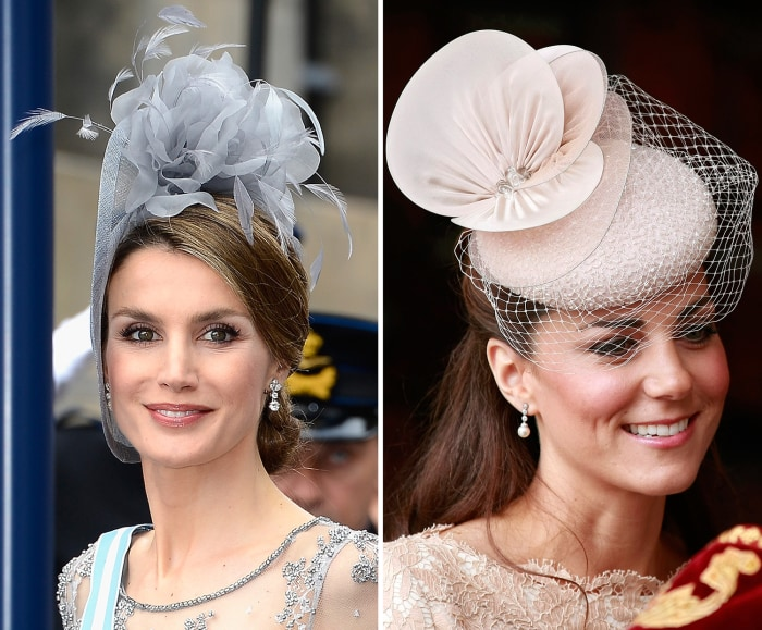 Image: Princess Letizia of Spain and Catherine Duchess of Cambridge compared wearing fascinator hats