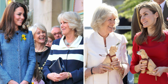 Image: Catherine Duchess of Cambridge and Princess Letizia of Spain both with Camilla, Duchess of Cornwall