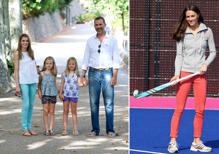 Image: Princess Letizia and family; Kate Middleton in coral pants