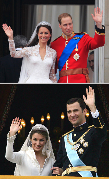 Image: Kate and William and Letizia and Felipe wave from the balconies of their respective weddings