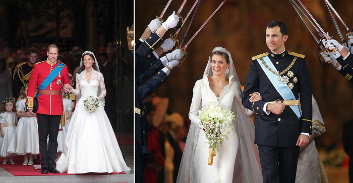 Image: Prince William and Duchess Catherine at their wedding; Princess Letizia and Prince Felipe at their nutpials
