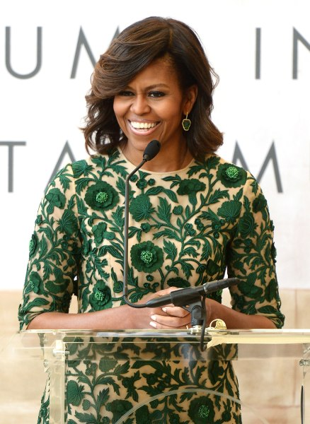 NEW YORK, NY - MAY 05:  First Lady of the United States Michelle Obama speaks onstage at the Anna Wintour Costume Center Grand Opening at the Metropol...