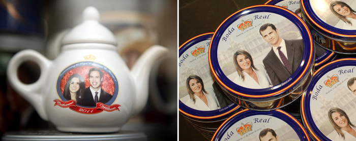 Image: Trinkets adorned with the faces of Duchess Kate and Princess Letizia