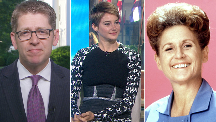 "Jay Carney says POW release ""not a security threat,"" Shailene Woodley promotes ""The Fault in Our Stars"" and TODAY pays tribute to the late Ann B. Davis."