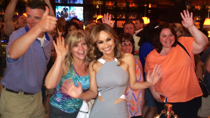 Giada poses with fans, who lined up for reservations to her new eatery.