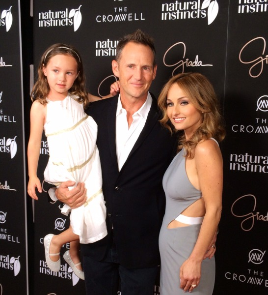 "Giada de Laurentiis is joined by her husband, Todd Thompson, and daughter, Jade, during a preopening VIP event for her new restaurant, ""Giada,"" on Monday night."