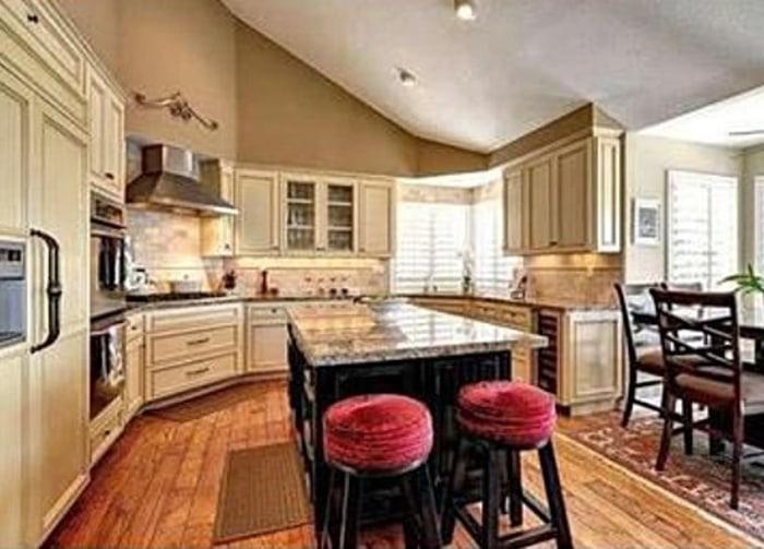 Charlie Sheen's Westlake Village home features a custom granite kitchen.