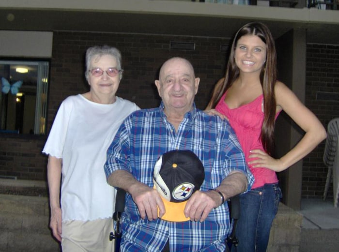 Valerie Gatto poses with her grandparents.