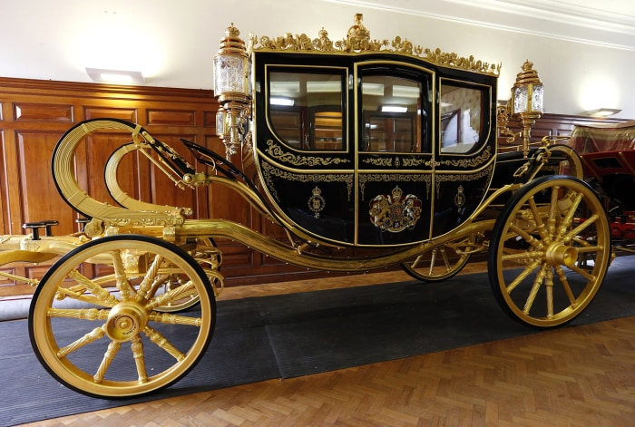 The new Diamond Jubilee state coach which will be used by Queen Elizabeth II during the State Opening of Parliament on June 4.