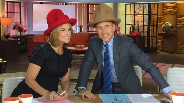 Image: Savannah Guthrie and Matt Lauer in Pharrell Williams-inspired hats.