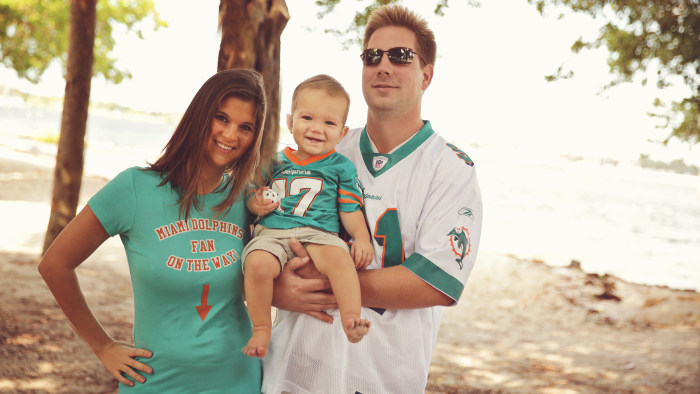 James with his parents, Jenna and Skyler Edwards.