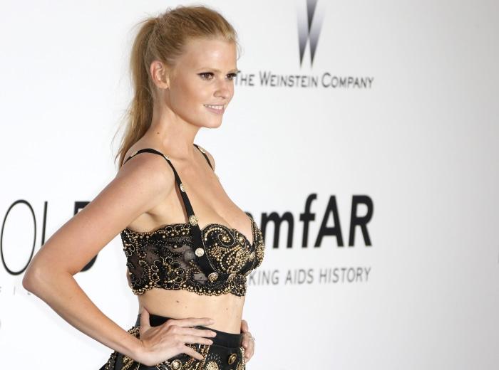 epa04220025 British model Lara Stone attends the Cinema Against AIDS amfAR gala 2014 held at the Hotel du Cap, Eden Roc in Cap d'Antibes, France, 22 M...