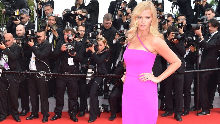 """Dutch model Lara Stone poses as she arrives for the screening of the film """"The Search"""" at the 67th edition of the Cannes Film Festival in Cannes, sout..."""