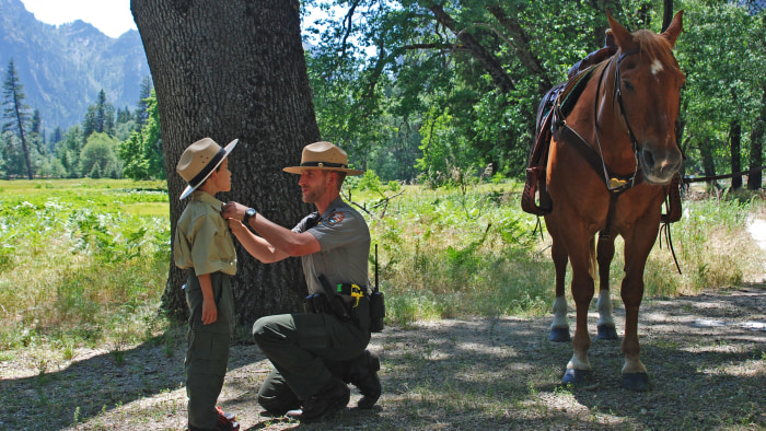 Gabriel Lavan-Ying, 8, spent a day as a Yosemite National Park ranger, with the help of the Make-A-Wish Foundation.