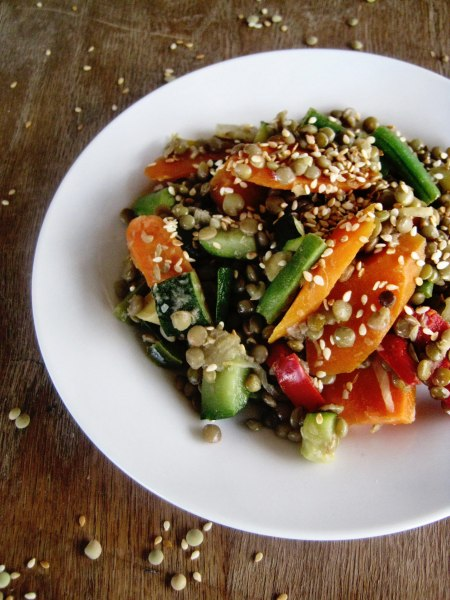 Sesame stir-fried lentils and vegetables