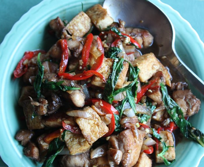 Spicy tofu and chicken stir-fry