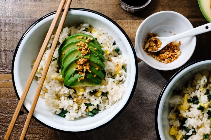 Green bean and avocado fried rice