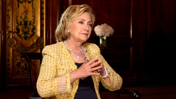 Hillary Clinton speaks to NBC's Cynthia McFadden