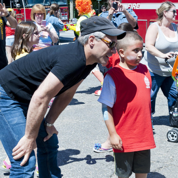 Jon Bon Jovi visits with 10-year-old Mario Carpino. Bon Jovi made a surprise visit to Carpino's cancer fundraiser in New Jersey last Saturday.