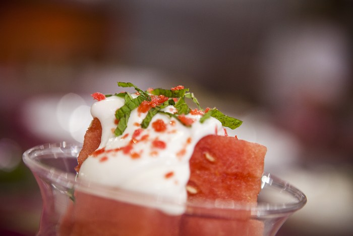 Sparkling watermelonwith yogurt cream and mint