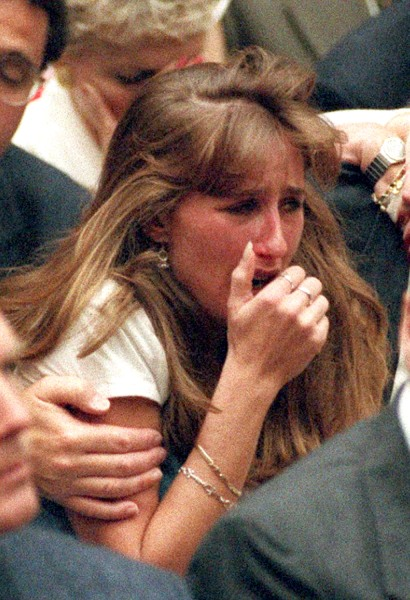 "Kim Goldman cries after Simpson's verdict is read in court, 20 years ago. ""It's heartbreaking to see that,"" she said on TODAY Wednesday."