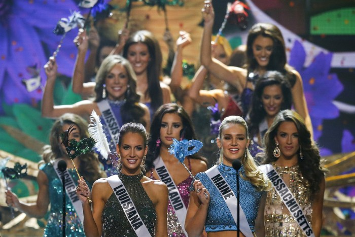 Miss USA contestants take the stage during the 2014 Miss USA beauty pageant in Baton Rouge, Louisiana June 8, 2014. Seen here are (front L-R) Miss Lou...