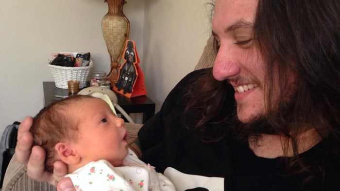 Bobby Ackerman with his daughter, Madison, who died when she was four months old.