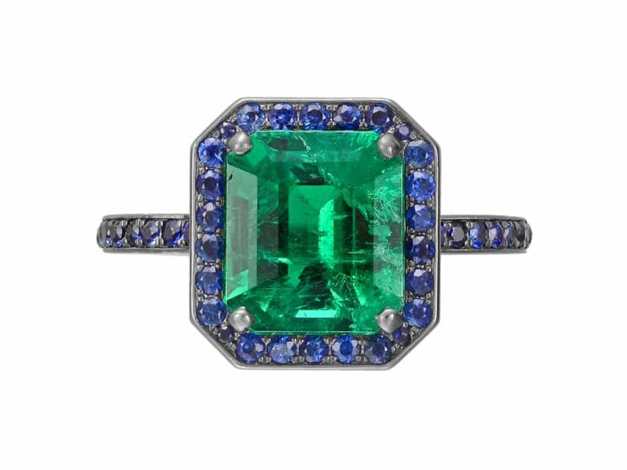Betteridge Collection emerald ring with sapphire surround