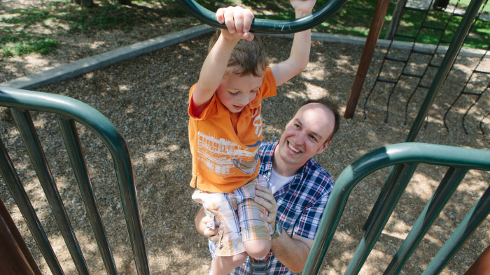 The Fontenot family visit a park near their home in Round Rock, Texas. Corey Fontenot, 35, switched from a more lucrative sales job to a more family-friendly operations job after his first child was born about five years ago.