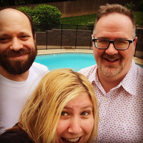Oren Miller, left, with wife Beth and fellow dad blogger Brent Almond, on Memorial Day weekend. Miller was having back pain related to his cancer that weekend, but didn't yet know what was causing it.