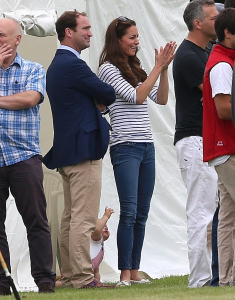 CIRENCESTER, ENGLAND - JUNE 15:  Catherine, Duchess of Cambridge and her son Prince George attend the Royal Charity Polo during the Maserati Jerudong ...