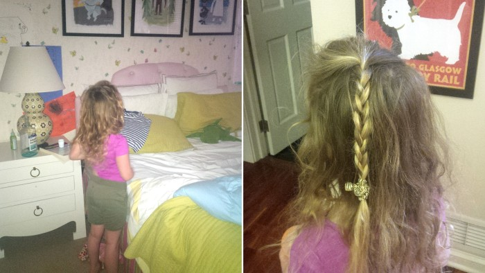 Jennifer's six-year-old daughter Phoebe dresses herself to look like her big sister Lucy.