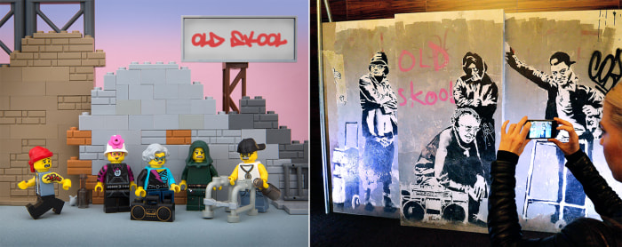 Bricksy Lego Diorama of Banksy's Old Skool Thugs for Life.; You never really know who your future self is going to be. It's probably better that way.
