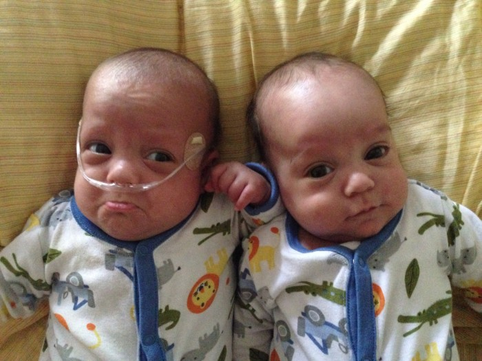 Carl and David Cowan are preemie twins born 39 days apart.